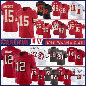 15 Patrick Mahomes 87 Travis Kelce 10 Tyreek Hill Custom Men Women Kids Football Jersey 12 Tom Brady 81 Antonio Brown 87 Rob Gronkowski