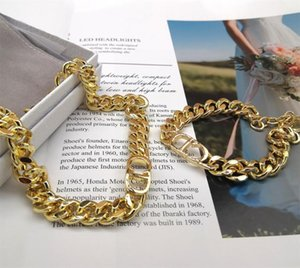 Wholesale yellow brass chain resale online - Luxury Jewelry D Letter Thick Chain Short Necklace Vintage Gothic Style bracelet yellow brass trendy women new High Quality