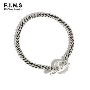 Wholesale hook bars for sale - Group buy F I N S Korean S925 Sterling Silver Bracelet Retro Old Geometric Circle Bar Link Chain Bracelet Silver Female Costume Jewelry