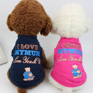 Wholesale t shirts for girls resale online - Summer Letter Pattern Thin Cotton Vest T shirts for Pet Med small Cats and Dogs Boys and Girls T shirts Apparels Outwear Outfits