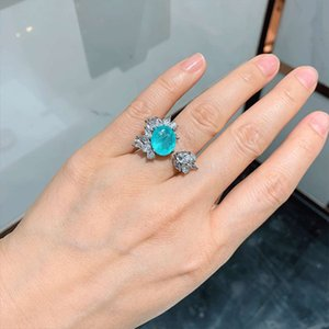 Wholesale copper emerald jewelry for sale - Group buy Palaiba opening emerald color treasure banquet jewelry copper plated genuine gold ring