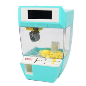 Wholesale coins machine resale online - Mini Alarm Clock Coin Operated Game Machine Crane Machine Coin Operated Game Machine Candy Hanging Doll Toy Kids Christmas Gifts Q0313