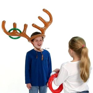 reno al aire libre al por mayor-1set inflable Santa Funny Reindeer Antller Hat Hat Toss Toss Christmas Holiday Party Game Christmas Outdoor Inflado Juguetes Suministros HWA3723