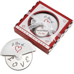 ingrosso scatole per pizza-Una fetta di Amore Acciaio inossidabile Cutter Pizza in Miniature Pizza Box Baby Shower Gifts Bombardi JK2003