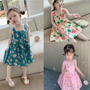 Wholesale fruits dress girl resale online - Summer Flowers Dress For Kids INS New Children fruit printed suspender dress Girls Cotton pleated dress A6012