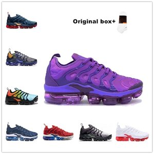 box wein großhandel-Mit Box AIR VAPORMAX TN FLYKNIT shoes Tn Plus Bumblebee Herren Womensair Kissenschuhe Olive in Metallic Silber für Triple Black Alle Weißwein Red Rainbow Chaussures