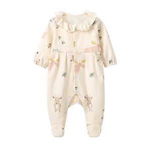 Wholesale newborn footed pajamas resale online - Pureborn Newborn Footed Jumpsuit Unisex Pajamas for Boys Girls Cotton Printed Footies Spring Autumn Baby Clothes
