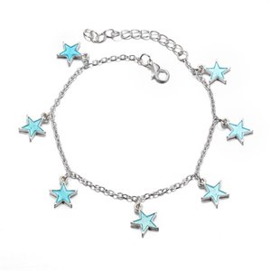 Wholesale sexy jewelry for women ankle for sale - Group buy Fashion Luminous Pentagram Star Ankle Heart Star Charm Bracelet Anklets Sandal Sexy Beach Leg Chain For Women Summer Beach Jewelry T2