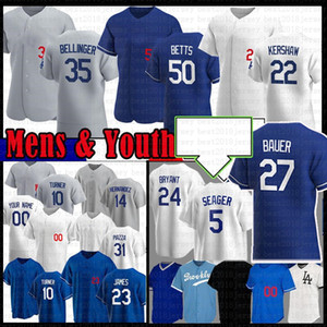 ingrosso kershaw-Personalizzato Mookie Betts Cody Bellinger Clayton Kershaw Trevor Bauer Baseball Jersey Justin Turner Los Hernandez Corey Seager Angeles Julio Urias