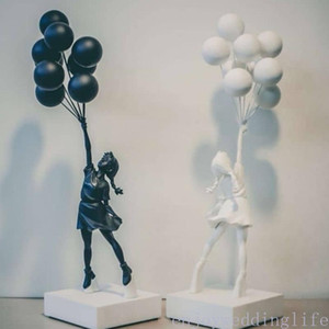 Wholesale room decorations girl for sale - Group buy Luxurious Balloon Girl Statues Banksy Flying Balloons Girl Art Sculpture Resin Craft Home Decoration Christmas Gift cm