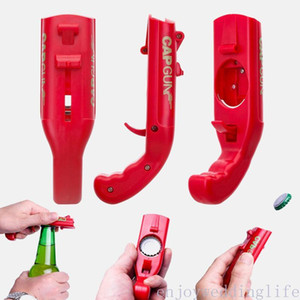 Wholesale bottle opening resale online - Portable Cap Gun Creative Flying Cap Launcher Bottle Beer Opener Bar Tool Drink Opening Gun Shaped Bottle Lids Shooter