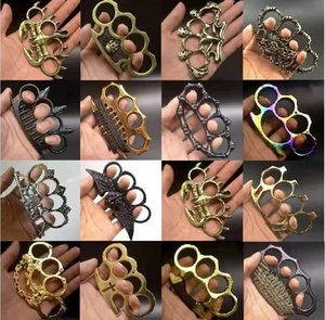 Wholesale knuckle rings resale online - Glass fiber alloy finger tiger four finger self defense weapon iron brass knuckle four finger hand brace lifesaving metal ring self defense