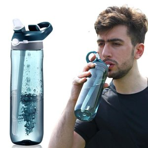 Wholesale food straw resale online - 750ml oz Sport Water Bottle With Straw Food Grade Plastic Leakproof Bottles Large Capacity Outdoor Sport Travel Camping Bottle DH1128