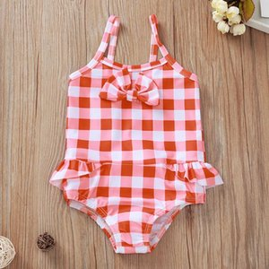 Wholesale children bathing swimwear for sale - Group buy 2021 Summer Toddler Swimwear Kid Baby Girls Cute Red Plaid Bikini Set Children Swim Dress Rosa Beach Swimsuit Kids Bathing Suits