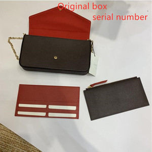 3 pcs set favorite multi pochette accessories women Crossbody Purse Messenger bags Handbags Flowers shoulder lady Leather with box 61276