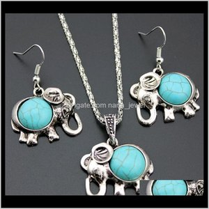 Wholesale long drop earrings necklace set resale online - European And American Baby Elephants Jewelry Sets Piece Turquoise Green Stone Drop Earrings And Long Necklace Sets Fj30I Nomxi