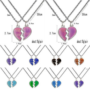 Wholesale love heart wing necklace for sale - Group buy Thermochromic Couple Necklace Angel Wing Love Heart Necklace Valentines Day Gifts Best Frind Stainless Steel Chain EWA3759