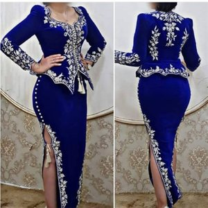 Wholesale royal blue silver lace dress resale online - Karakou algerien Royal Blue Prom Formal Dresses with Long Sleeves Silver Lace Embroidery Peplum side Slit Arabic Evening Gowns