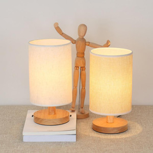 Wholesale shades for lamps resale online - USB Bedside Table Lamp Modern LED Desk Light with Fabric Shade and Wood Base for Household Bedroom Ornament