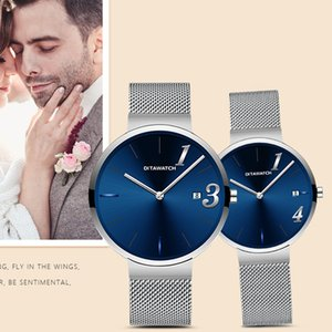 Wholesale dw couples watches resale online - Dita Dw Couple a Pair of Swiss Waterproof Fashion Non Mechanical Watch Men and Women