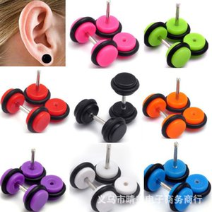 Wholesale black acrylic resin ring resale online - Acrylic Ear expander color resin UV Round Stud black rubber ring auricle8Q4M