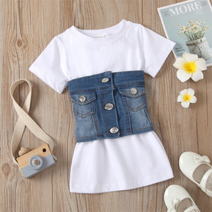 Wholesale vest striped dress resale online - Summer Fashion Kids Girls Clothes Sets Short Sleeve Solid A Line Dress Denim Blue Vest Belt Children Outfits U2