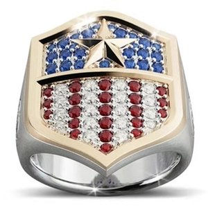 Wholesale captain american shield for sale - Group buy Luxury Red White Blue Crystal American Flag Ring Men Gold Captain Army America Shield Rings for Women Anniversary Gifts Jewelry