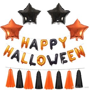 ingrosso lettere palloncino-Felice palloncini Halloween Set inch Halloween Lettere Decorazione Fascino Foil Balloon Banner Halloween Party Supplies JK1909