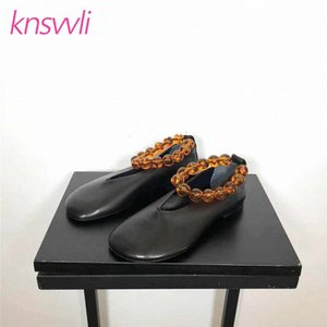 Wholesale ring toes resale online - Agate String Bead Ankle Ring Ballet Flat Shoes Woman Leather Comfort Loafers Round Toe Soft Sole Shoes Women Zapatos De Mujer l50o