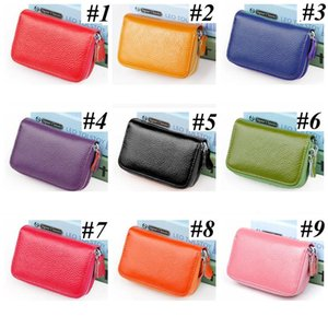 Wholesale designer clutches bags for sale - Group buy Unisex Leather ID Credit Card holder double zipper credit card wallet cowhide card holder wallet Clutch Purse Coin Storage Bags LLS500