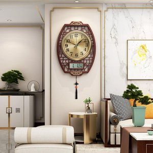 Wholesale chinese calendars resale online - Light luxury Chinese decoration wall clock living room silent creative fashion modern minimalist wall clock