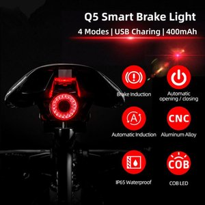 Wholesale lights bicycles resale online - Bicycle Smart Auto Brake Sensing Light IPx6 Waterproof LED Charging Cycling Taillight Bike Rear Light Accessories Q5