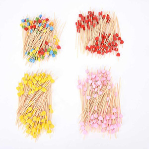ingrosso decorazioni di frutta per il compleanno-100pc Decorazione Bamboo Picks Fruit Fork Bastoncini Buffet Cupcake Toppers Cocktail Forks Wedding Festival Decorazioni Decorazioni Compleanno