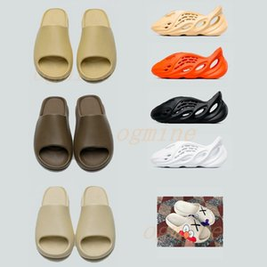Wholesale sneakers high heels resale online - High quality kanye west sandals shoes triple black white slides sock bone resin desert sand earth brown men womens slippers sneakers