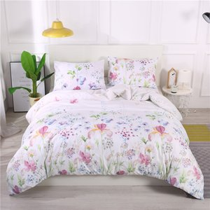 ingrosso copripiumino in piuma-2 Pz Beautiful Flower Feather Wave Stampa Biancheria da letto Set morbido Traspirante Cover Duvet Pillow Case Full Queen King Size BedClothes C0223