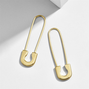 Wholesale silver plated safety pins for sale - Group buy XMAS Gift Women Earring Latest New Design Safety Pin Shape Ear Wire Gold Plated Trendy Gorgeous Women Exquisite Jewelry T2