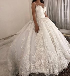 Wholesale ballgown wedding dresses resale online - 2021 Ballgown Wedding Dresses with Spaghetti Straps Lace Applique Sweep Train Custom Made Plus Size Castle Wedding Gown vestido de novia