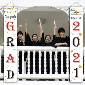 Wholesale graduation party decorations for sale - Group buy 2021 graduation season couplet party decoration banner door curtain poster hanging flag support customization