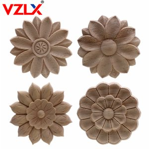Wholesale home decor wall appliques resale online - VZLX Vintage Floral Woodcarving Corner Appliques Frame Wall Furniture Woodcarving Decorative Wood Figurines Crafts Home Decor C0220