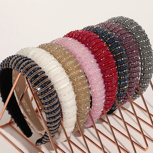 Baroque Full Crystal Hair Accessories For Women Lady Luxury Shiny Padded Diamond Headband Hoop Fashion wedding headbands