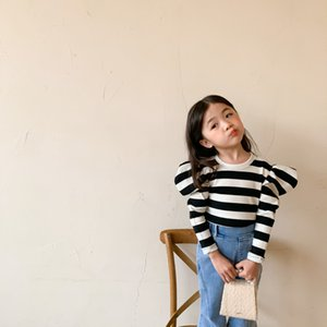 Wholesale new design kids shirts for sale - Group buy New INS Little girls Newest Girls Stripes Long Sleeve Knitted Girls Korean Design T Shirt Kids Long Sleeve Tops