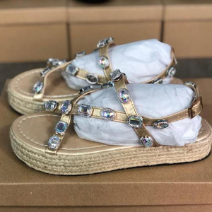 Wholesale new arrivals leather slippers for sale - Group buy Designer new arrivals Women s leather platform sandals with rhinestones Women s summer sandals and slippers Sandals banquet shoes Straw outd