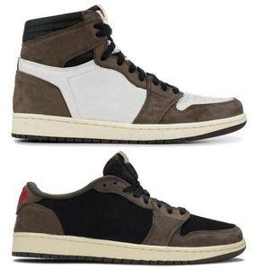 Best Quality 1 High OG Travis Scotts Cactus Jack Suede Dark Mocha 3M Basketball Shoes Men Women 1s Low Travis Scotts Sneakers With Box