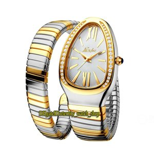 bucles de diamantes al por mayor-MISSFOX Moda Lady Relojes Dial Blanco Movimiento de cuarzo Reloj para mujer Iced Out Diamonds Bisel Steel Case Double Two Tone Gold Silver Loop Pulsera