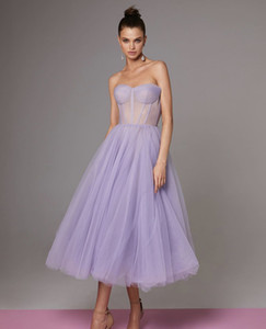 Wholesale runway tea length dresses for sale - Group buy Elegant Evening Dresses New Dubai Lavender Formal Gowns Sexy Sheer Neckline Party Prom Dress Arabic Middle East Ruffle Tea Length