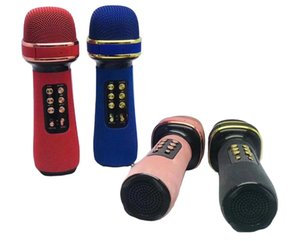 Wholesale bluetooth microphones resale online - WS Bluetooth Handheld Microphone Karaoke Double Speaker Mic Singing for IOS Android Smart TV System Supports FM TF MP3 Music Player