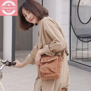 Wholesale winter girls bag for sale - Group buy Winter Women Corduroy Flap Bag Female Canvas Cloth Zipper Shoulder Crossbody Bag Preppy Style Phone Coin Money Bags For Girls