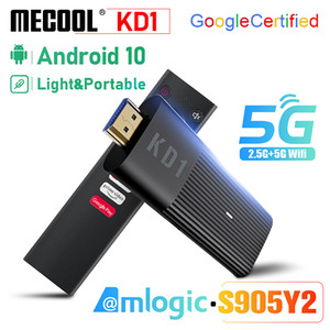 ingrosso tv portatili-MECOOL KD1 TV Stick S905Y2 GB RAM GB ROM Smart TV Box BT4 Android ATV OS K HDR10 Streaming Portable Media Player Google certificato