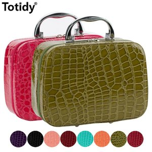 Wholesale alligator organizer bag resale online - Alligator Women s Leather Cosmetic Bag Portable Nail Organizer Female Artist Make Up Suitcase Beautician Profession Makeup Case