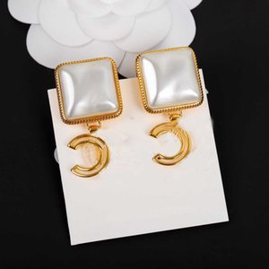 Wholesale gold filled 18k stamped for sale - Group buy Top quality drop earring with square shape white and stamp for women wedding jewelry gift in k gold plated with box PS3638